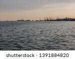 seaport from distance view from ... | Shutterstock . vector #1391884820