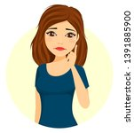 girl emotions. a young girl is... | Shutterstock .eps vector #1391885900