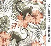 tropical vintage monkey ... | Shutterstock .eps vector #1391889410