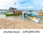 apr 27  2019 boat waiting for... | Shutterstock . vector #1391890190