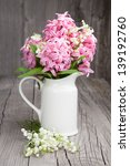 Pink Hyacinths And White Lilie...