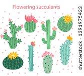 cactus flower. bright cacti ... | Shutterstock .eps vector #1391975423