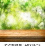 Empty Wooden Deck Table With...