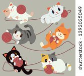 the group of cute cat playing... | Shutterstock .eps vector #1392025049