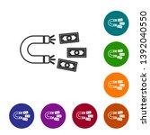 grey magnet with money line... | Shutterstock .eps vector #1392040550