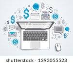 laptop with statistics... | Shutterstock .eps vector #1392055523