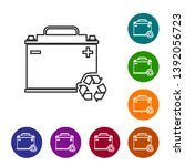 grey car battery with recycle...   Shutterstock .eps vector #1392056723