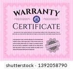 pink vintage warranty... | Shutterstock .eps vector #1392058790