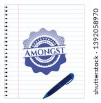 amongst blue ink pen emblem.... | Shutterstock .eps vector #1392058970