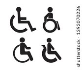 set of disability people... | Shutterstock .eps vector #1392070226