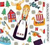 norway scandinavia doodle... | Shutterstock .eps vector #1392079700