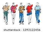 stylish handsome mans in... | Shutterstock .eps vector #1392122456