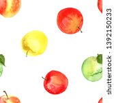 pattern of fruit painted with... | Shutterstock . vector #1392150233