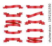 red ribbons set. vector design...   Shutterstock .eps vector #1392151550