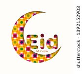 eid mubarak greeting card with... | Shutterstock .eps vector #1392152903