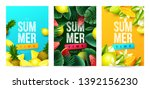 summer background with fruits.... | Shutterstock .eps vector #1392156230