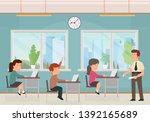 classroom with kids. teacher or ... | Shutterstock .eps vector #1392165689