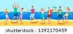 tanned caucasian people  men... | Shutterstock .eps vector #1392170459