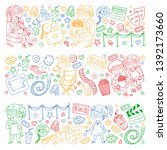 vector pattern with cinema... | Shutterstock .eps vector #1392173660