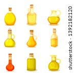 set of isolated jars with oil...   Shutterstock .eps vector #1392182120