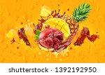 mango  pineapple  pomegranate... | Shutterstock . vector #1392192950