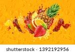 healthy orange  strawberry ... | Shutterstock . vector #1392192956
