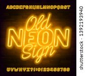 old neon sign alphabet font.... | Shutterstock .eps vector #1392193940
