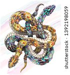 patterned two snakes on the... | Shutterstock .eps vector #1392198059