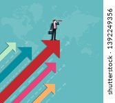 businessman holding binocular... | Shutterstock .eps vector #1392249356