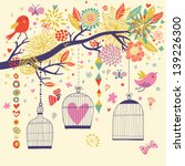 freedom concept card. birds out ...   Shutterstock .eps vector #139226300