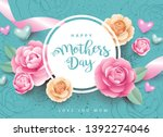 mother's day greeting card with ... | Shutterstock .eps vector #1392274046