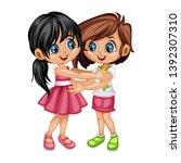two lovely happy best friends... | Shutterstock .eps vector #1392307310