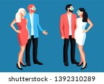 urban  people. two couple... | Shutterstock .eps vector #1392310289