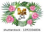 palm tropical oleander flowers... | Shutterstock .eps vector #1392336836