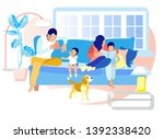 happy family leisure time in... | Shutterstock .eps vector #1392338420