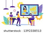 business partners in office.... | Shutterstock .eps vector #1392338513