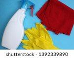 window cleaner gloves and rag... | Shutterstock . vector #1392339890