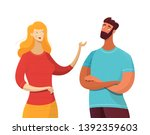 blonde woman talking with man... | Shutterstock .eps vector #1392359603