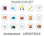 sound icon set. 15 flat sound...   Shutterstock .eps vector #1392373313