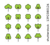 Stock vector set of outline trees icon vector illustration plants and garden 1392380126