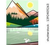 illustration  lake and mountain ... | Shutterstock .eps vector #1392405263