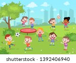Kids Play In The Park Vector...