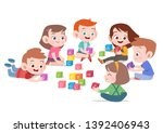 kids children playing with... | Shutterstock .eps vector #1392406943