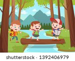 kids exploring jungle vector... | Shutterstock .eps vector #1392406979