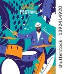 jazz festival poster. drum... | Shutterstock .eps vector #1392414920