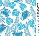 seamless tropical leaves   ... | Shutterstock . vector #1392434576