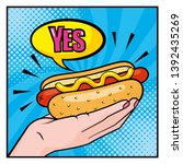 Hot Dog In The Woman Hand With...