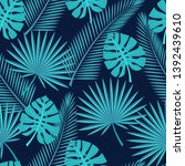 seamless tropical leaves   ... | Shutterstock . vector #1392439610