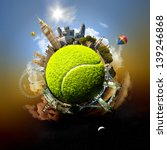 Small photo of Tennis planet of London - symbolic illustration of London, UK, built on a tennis ball, with all important buildings and attractions of the city