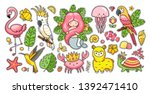 big set of tropical summer... | Shutterstock .eps vector #1392471410
